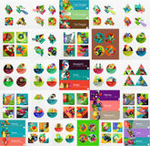 Mega set of infographic layouts, labels, web boxes Stock Photos