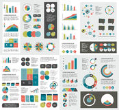 Mega set of infographics elements charts, graphs, circle charts, diagrams. Stock Photo