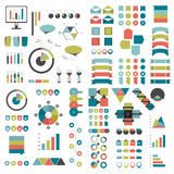 Mega set of infographics elements charts, graphs, circle charts, diagrams, speech bubbles. Flat and 3D design. Vector Royalty Free Stock Image