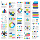 Mega set of infographics elements charts, graphs, circle charts, diagrams, speech bubbles. Flat and 3D design. Vector Royalty Free Stock Image