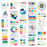 Mega set of infographics elements charts, graphs, circle charts, diagrams, speech bubbles. Flat and 3D design. Royalty Free Stock Photography