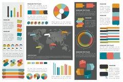 Mega set of infographics elements charts, graphs, circle charts, diagrams, speech bubbles. Stock Images