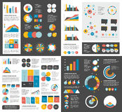 Mega set of infographics elements charts, graphs, circle charts, diagrams, speech bubbles. Flat and 3D design. Vector Stock Photography