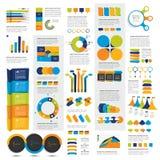 Mega set of infographics elements charts, graphs, circle charts, diagrams, speech bubbles. Flat and 3D design. Vector Royalty Free Stock Photos