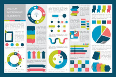 Mega set of infographics elements charts, graphs, circle charts, diagrams, speech bubbles. Flat and 3D design. Vector Royalty Free Stock Images