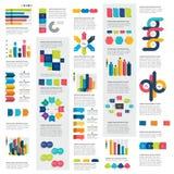 Mega set of infographics elements charts, graphs, circle charts, diagrams, speech bubbles. Flat and 3D design. Vector Royalty Free Stock Photo