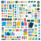 Mega set infographics flat design elements, schemes, charts, buttons, speech bubbles, stickers. Royalty Free Stock Images