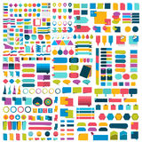 Mega set of infographics flat design elements, schemes, charts, buttons, speech bubbles, stickers. Stock Image