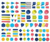 Mega set of infographics flat design elements, schemes, charts, buttons, speech bubbles, stickers. Stock Images