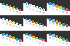 Mega set of Infographics timeline banners, charts. Step by step report templates. Stock Photos