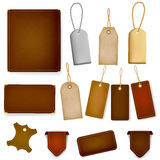Mega set of leather labels and tags Royalty Free Stock Photos