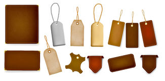 Mega set of leather labels and tags. Vector royalty free illustration