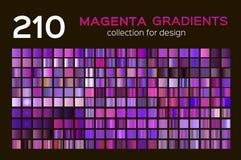 Mega set 210 Magenta metali gradientów Magenta tła kolekcje, metali gradienty, swatches Różna gradacja ilustracja wektor