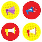 Mega Set Megaphone image in different styles and on different backgrounds. Promotional offer or banner. Pop art, vintage Vector royalty free illustration