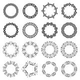 Mega set of 16 the most popular round frames. Decoration elements patterns in big pack. Mega set of 16 the most popular round frames. Monochromatic vintage Stock Photos