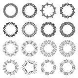 Mega set of 16 the most popular round frames. Decoration elements patterns in big pack. Mega set of 16 the most popular round frames. Monochromatic vintage vector illustration