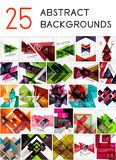 Mega set of paper geometric backgrounds. 25 design templates. For business background | numbered banners | business lines | graphic website Stock Photography