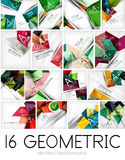 Mega set of paper geometric backgrounds. 16 design templates. For business background | numbered banners | business lines | graphic website Royalty Free Stock Photo
