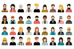 Mega set of persons, avatars, people heads different nationality in flat style. Vector Stock Illustration