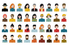 Mega set of persons, avatars, people heads  different nationality in flat style. Vector Royalty Free Stock Photo