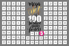 Mega set of 100 positive quotes posters about happy summer. Motivation and inspirational journey phrases to design, greeting card, printable wall art Royalty Free Illustration