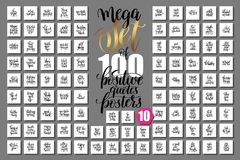 Mega set of 100 positive quotes posters. Motivational and inspirational phrases isolated to print, typography slogans calligraphy vector illustration big royalty free illustration
