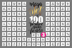 Mega set of 100 positive quotes posters, motivational and inspir. Ational phrases isolated to print, typography slogans calligraphy vector illustration big Royalty Free Illustration