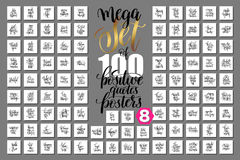 Mega set of 100 positive quotes posters, motivational. And inspirational phrases isolated to print, typography slogans calligraphy vector illustration big Royalty Free Illustration