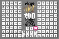 Mega set 100 pozytywnych wycena plakatów royalty ilustracja