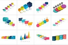 Mega set różnorodni Krok po kroku szablony, linie czasu, Liczyć mapy ilustracja wektor