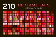 Mega set of 210 Red metal gradients. Magenta backgrounds collection, metal gradients, swatches. Different gradation vector illustration