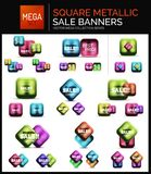 Mega set of square metallic sale buttons, banners or design elements Stock Photography