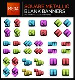 Mega set of square metallic sale buttons, banners or design elements Stock Photo