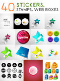 Mega set of stickers, stamps and web boxes Royalty Free Stock Photo