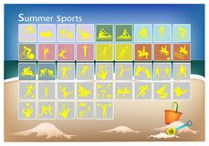 A Mega Set of 41 Summer Sport Icons Royalty Free Stock Images