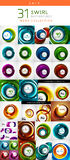 Mega set of swirl circles abstract backgrounds Stock Photo
