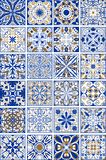 Mega set of traditional spanish or portuguese ceramic and pottery ornamental tiles. In indigo and golden design, eps10 vector Vector Illustration
