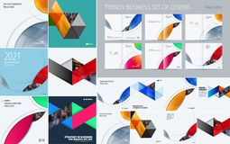 Mega set of triangular abstract templates for business, trendy colourful shapes, design banner, stand, corporate. Identity, brand printing. Super marketing new Stock Photography