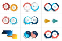 Mega set of two elements, steps chart, diagram, scheme. Circle, round design Royalty Free Stock Image