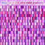 Mega set of 256 ultra violet and lilac gradients. Collection of trendy colorful elements. EPS 10 royalty free illustration