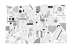Mega set of unique original design elements. Mega set of unique original 90s 80s style design elements with simple dots squiggles grid linear ornaments in black Royalty Free Stock Images