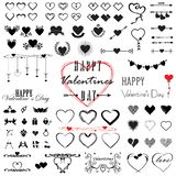 Mega set for valentine`s day, hearts and inscriptions collection icons, love symbol, isolated on white, vector illustration stock illustration