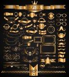 Mega Set of Vintage Golden Labels for your Hipster designs Stock Image