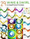 Mega set of waves and swirls - design templates Stock Photography