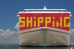 Mega ship with containers & SHIPPING text on. Stock Photography