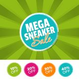 Mega Sneaker Sale color banner and 10%, 20%, 30% & 40% Off Marks. Vector illustration. Eps10 Vector Royalty Free Stock Photos