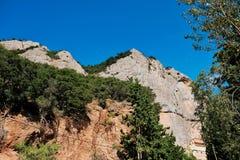 Mega Spilaio Monastery, Kalavryta, Greece. The historic Mega Spilaio Greek Orthodox monastery, Kalavryta, Peloponnese mountains, Greece. Monastery is built into stock image