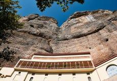 Mega Spilaio Monastery, Kalavryta, Greece. The historic Mega Spilaio Greek Orthodox monastery, Kalavryta, Peloponnese mountains, Greece. Monastery is built into royalty free stock image