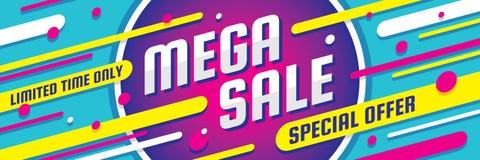 Mega sprzedaż rabat - wektorowa układu pojęcia ilustracja Abstrakcjonistyczny horyzontalny reklamowy promocyjny sztandar Specjaln ilustracji