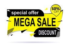 Mega sprzedaż sztandaru układu nowożytny projekt z miękkim cieniem zdjęcia royalty free
